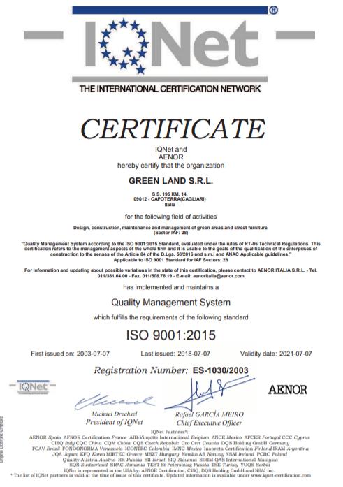 Certificato GreenLand 1
