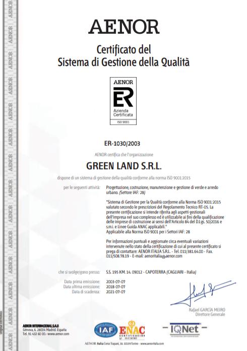 Certificato GreenLand 2