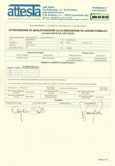 Certificato GreenLand 3